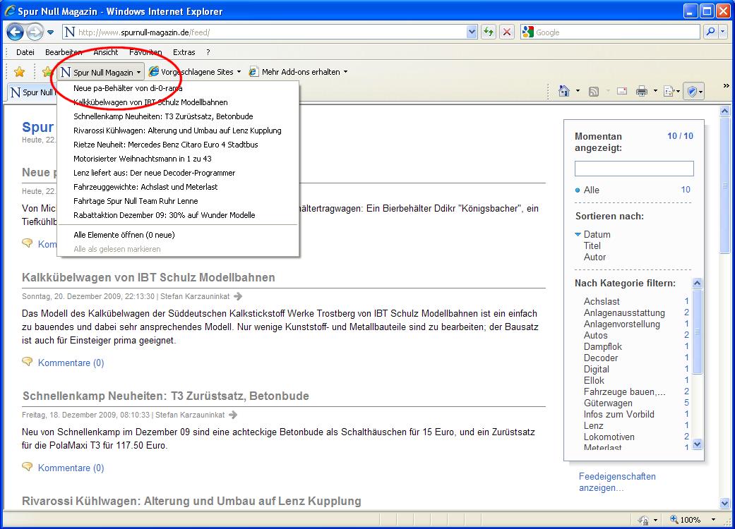 Internet Explorer: Fertig! Oben erscheint jetzt der Feed.