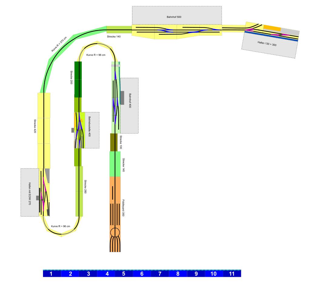 Der Gleisplan beansprucht eine Grundfläche von etwa 14 mal 16 Metern