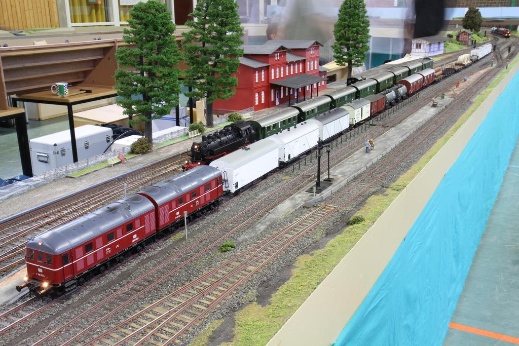 V 188 mit Güterzug im Bahnhof