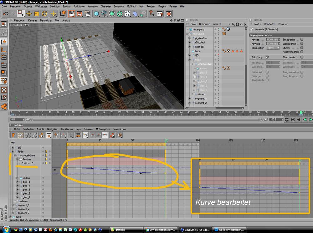 Animationskurve der Schienenbühne