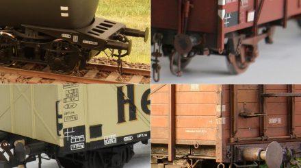 Bremsecken an verschiedenen Güterwagen