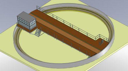 Konstruktionszeichnung der Drehscheibe in der Gesamtansicht