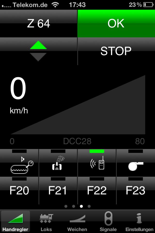 Lokmenü: Geschwindigkeit, Richtung, und F-Tasten. Letztere werden unten gescrollt.