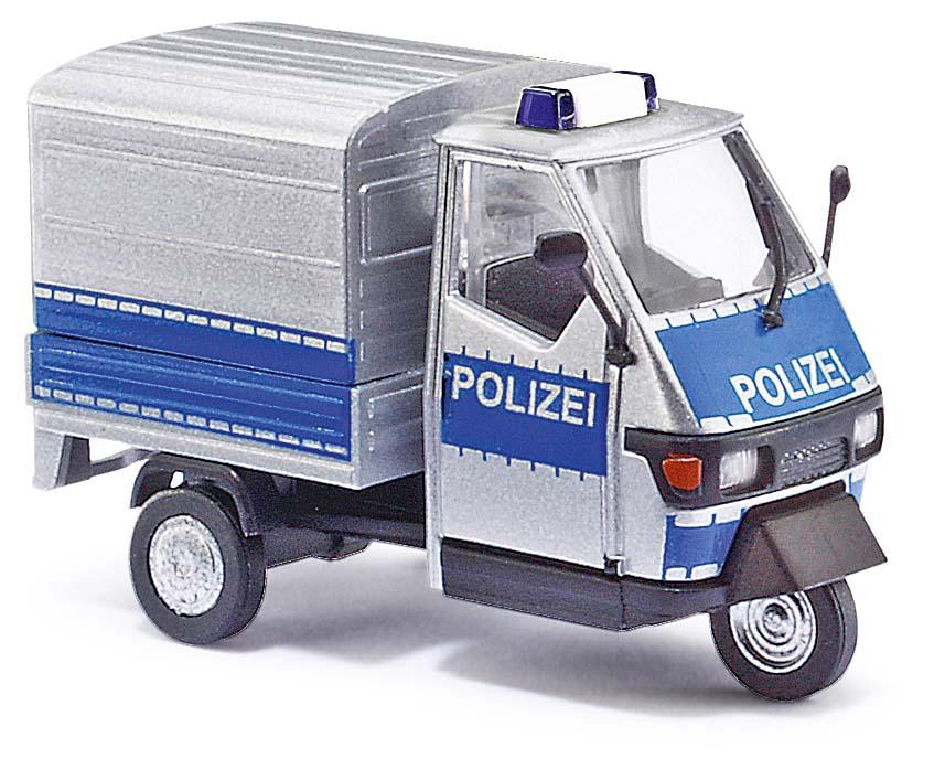 LIeferwagen Ape mit Polizei-Lackierung und Blaulicht