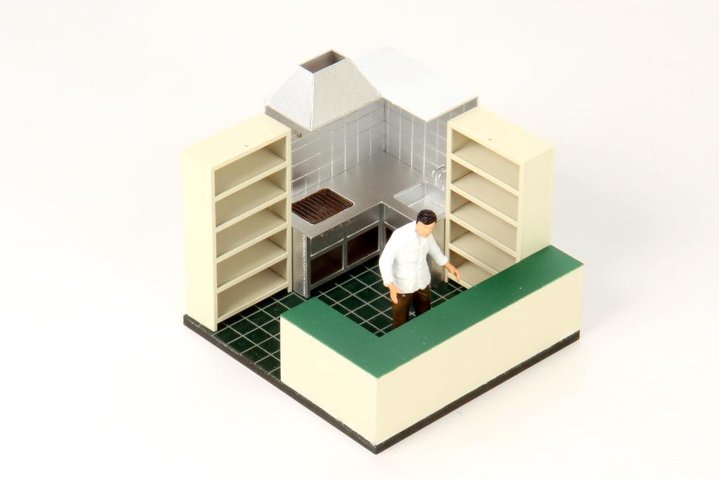 Inneneinrichtung zum Real Modell Kiosk. Der Bausatz kann auch für andere Gebäude verwendet werden