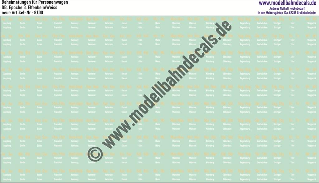 Musterbogen mit Nasschiebebildern: Beheimatungen für Personenwagen Chromgelb/Weiß