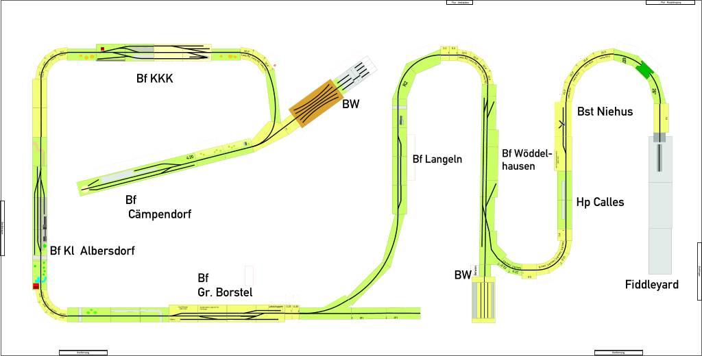 Der Gleisplan des Arrangements mit 11 Betriebsstellen