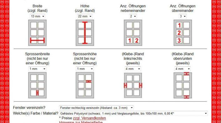 Einstellen der Fenstermaße bei Meinmodellhaus.de