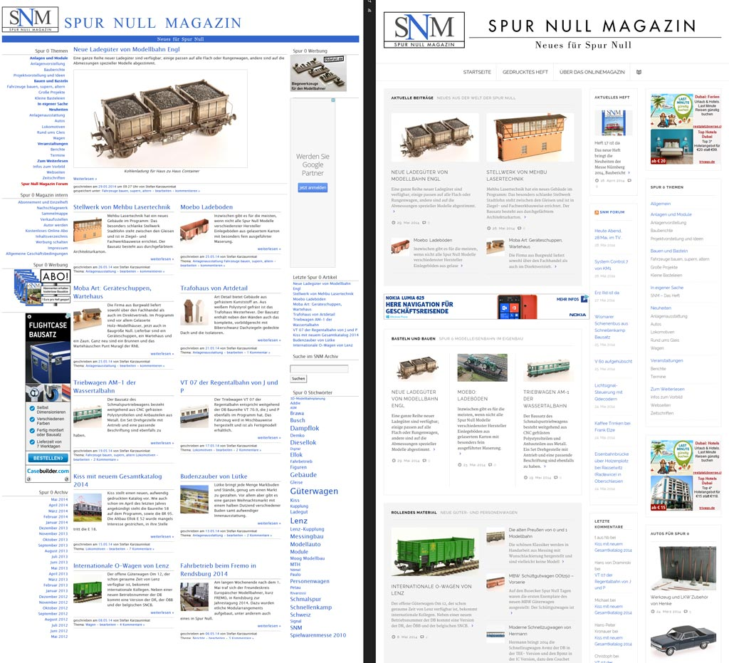 SNM online vor und nach dem Relaunch