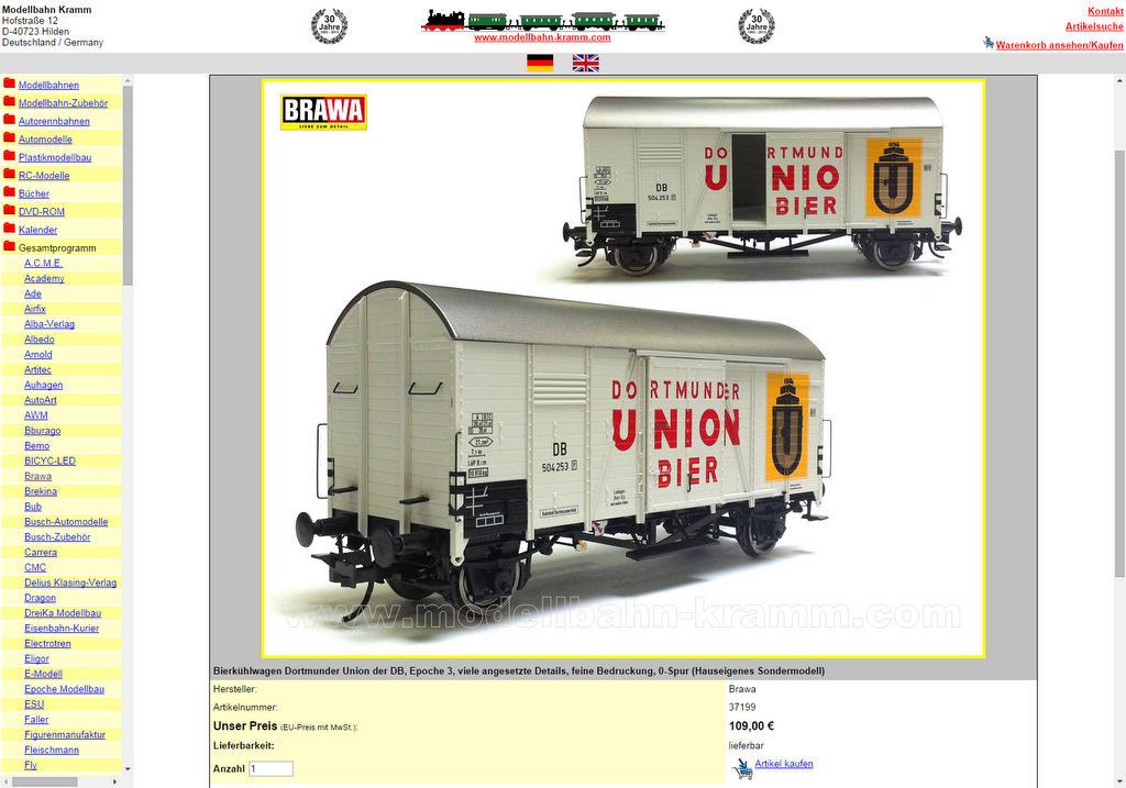Webseite der Firma Kramm mit Brawa Oppeln