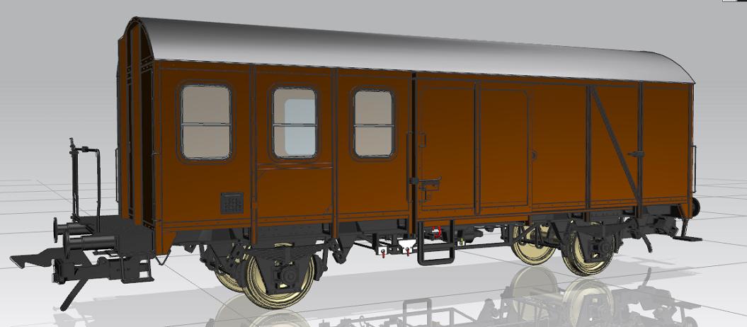 Pwghs 54 Typ B mit drei Fenstern. Konstruktionszeichnung MBW