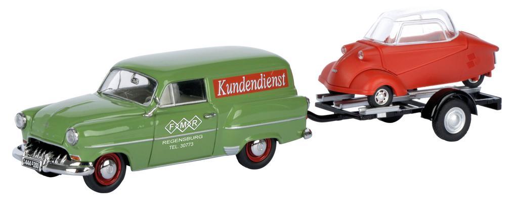 """Opel Olympia Caravan mit Anhänger """"Messerschmitt Service"""" / Art.-Nr. 450266700"""