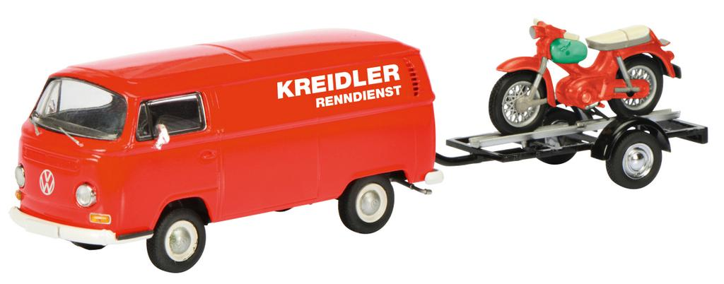"""VW T2a """"Kreidler-Service"""" Kastenwagen mit Motorradanhänger und Kreidler Florett / Art.-Nr. 450334000"""