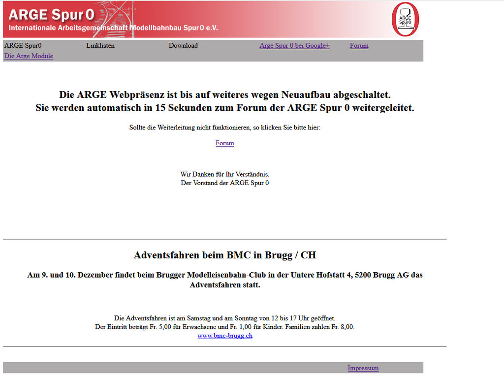 Homepage Arge Spur Null