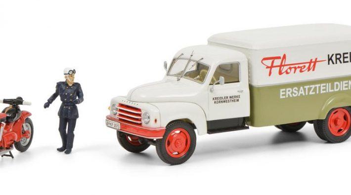 Hanomag L28 Kreidler mit Kreidler Florett und Fahrerfigur