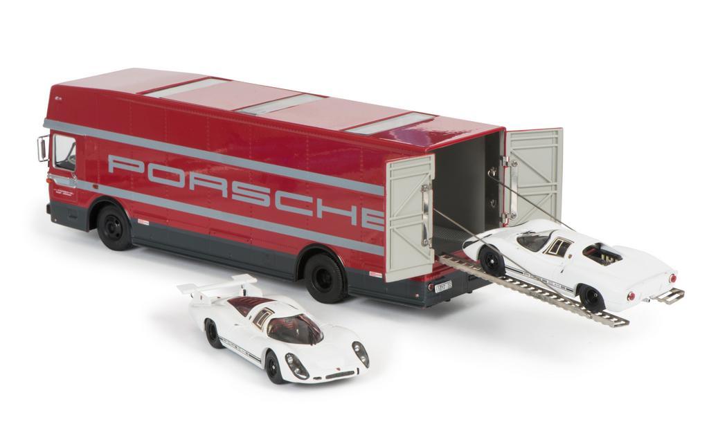 Set Edition 70 Jahre Porsche Renntransporter mit Porsche 908 Kurzheck und Langheck