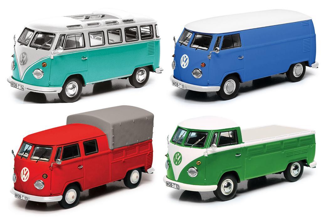 Set VW T1b, VW T1 Samba, Kastenwagen, Doppelkabine und Pritsche