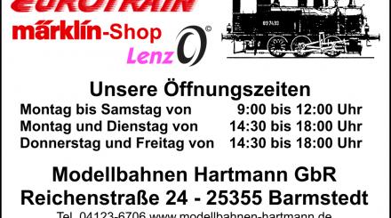 Öffnungszeiten Modellbahn Hartmann