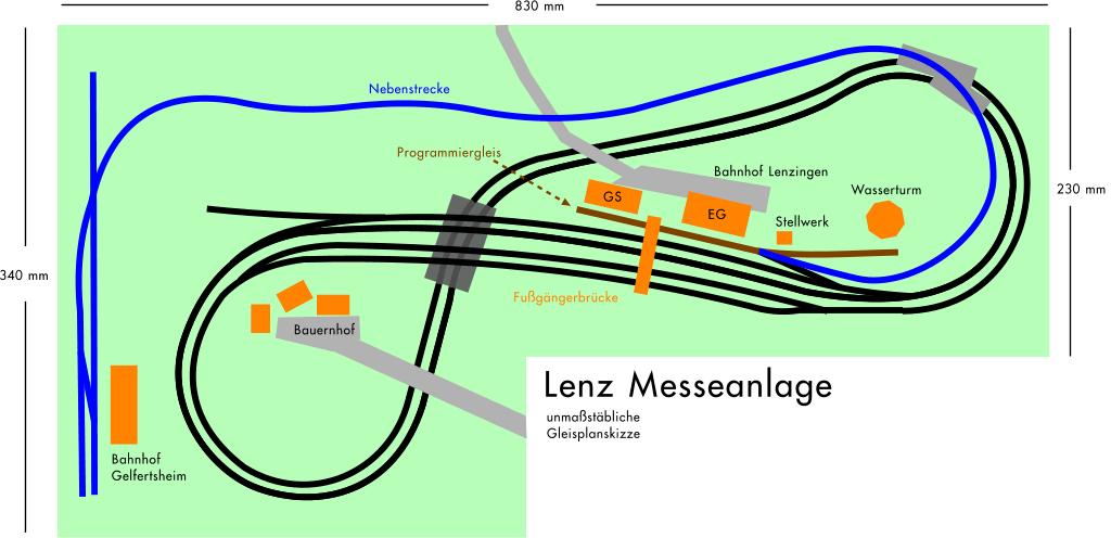 Gleisplan der Lenz Messeanlage