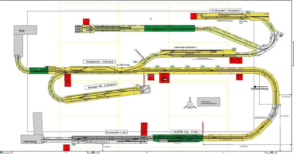 Aufbauplan: Module, Booster, Trennstellen, X-Bus Verstärker, Aufbaurichtung sind festgelegt