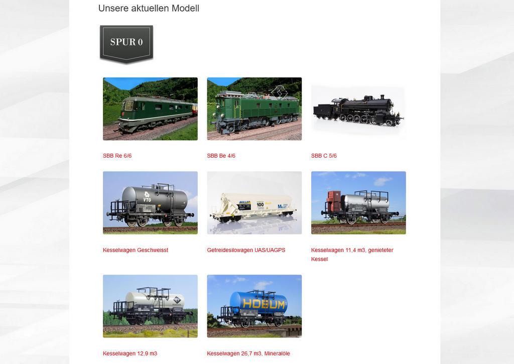 Produkte auf der Webseite der Kiss Modellbahnen Schweiz