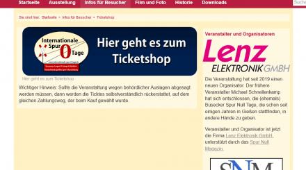 Spur Null Tage Ticketshop